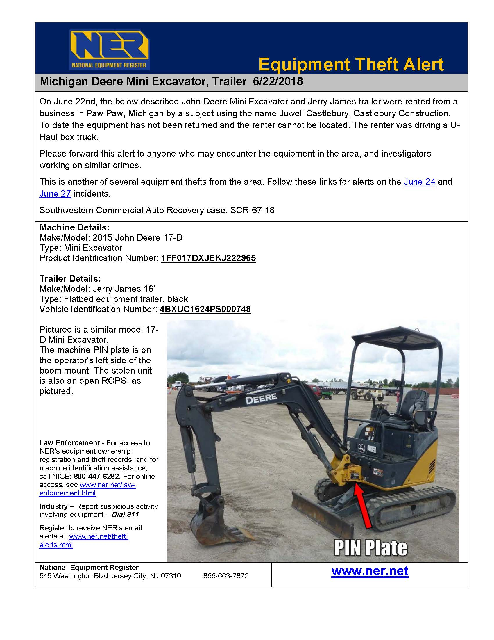 Theft Alerts | National Equipment Register (NER)